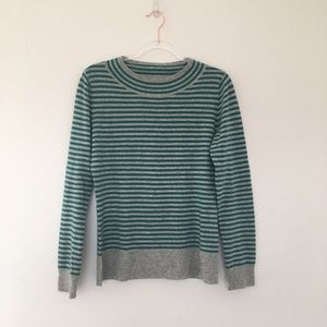 Patagonia Cashmere Striped Green and Gray Sweater
